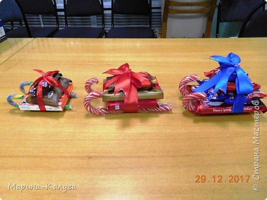Всем добрый день! На дворе лето, а я с новогодними подарками. Вот такими маленькими подарочками поздравляла коллег с Новым годом.За идею и шаблоны снеговичков спасибо Марине (Raketa). Как делать сани и оленей нашла в интернете. Всем спасибо за идеи! фото 3