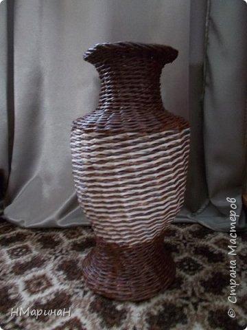 С недавних пор прямые стойки мне не так нравятся, как косые, вот и пробую свяко разное, например ваза, внизу веревочка из трёх, потом из двух и опять из трёх, Высота 45 см. фото 1