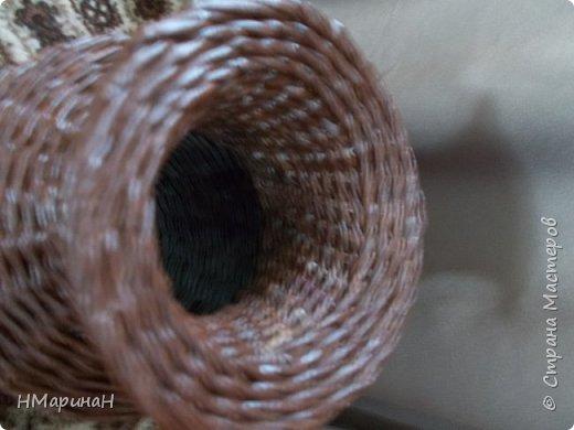 С недавних пор прямые стойки мне не так нравятся, как косые, вот и пробую свяко разное, например ваза, внизу веревочка из трёх, потом из двух и опять из трёх, Высота 45 см. фото 3