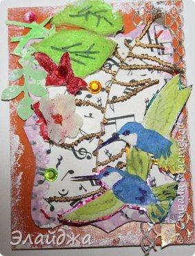Мой большой долгострой.  Птички  то-ли колибри..то-ли просто райские... Долго их делала. Сначали все мелкие детальки вырезала из цветной папиросной бумаги, клеила..откладывала... но мне все не нравилось. Потом решила не мудрить и вырезать  крылышки и хвостики из цветных перышек. Каждой птичке по цветному перу!  Все цветочки объемные и украшены  стразиками и блестящим глитером. Листики прошиты вручную , к основе  блестяший зеленый фатин ( или как то этот странный материал называется) Веточка золоченая приехала со мной из Польши, там перед костелом их  под НГ раздавали . Так что сборная композиция  .Если моим кредиторам понравится-буду рада.   фото 4