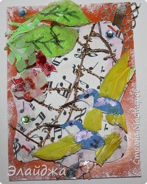 Мой большой долгострой.  Птички  то-ли колибри..то-ли просто райские... Долго их делала. Сначали все мелкие детальки вырезала из цветной папиросной бумаги, клеила..откладывала... но мне все не нравилось. Потом решила не мудрить и вырезать  крылышки и хвостики из цветных перышек. Каждой птичке по цветному перу!  Все цветочки объемные и украшены  стразиками и блестящим глитером. Листики прошиты вручную , к основе  блестяший зеленый фатин ( или как то этот странный материал называется) Веточка золоченая приехала со мной из Польши, там перед костелом их  под НГ раздавали . Так что сборная композиция  .Если моим кредиторам понравится-буду рада.   фото 5