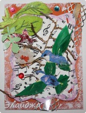 Мой большой долгострой.  Птички  то-ли колибри..то-ли просто райские... Долго их делала. Сначали все мелкие детальки вырезала из цветной папиросной бумаги, клеила..откладывала... но мне все не нравилось. Потом решила не мудрить и вырезать  крылышки и хвостики из цветных перышек. Каждой птичке по цветному перу!  Все цветочки объемные и украшены  стразиками и блестящим глитером. Листики прошиты вручную , к основе  блестяший зеленый фатин ( или как то этот странный материал называется) Веточка золоченая приехала со мной из Польши, там перед костелом их  под НГ раздавали . Так что сборная композиция  .Если моим кредиторам понравится-буду рада.   фото 7
