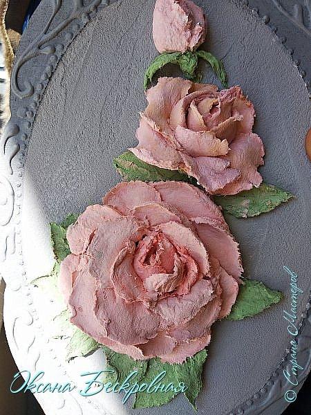 Всем доброго время суток! Сегодня, как обещала, выложу свои розы. Техника скульптурная живопись.  Панно высота 29 см. фото 2