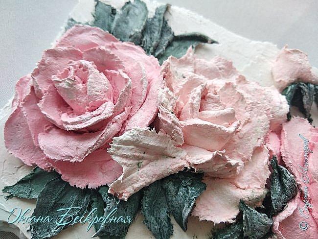 Всем доброго время суток! Сегодня, как обещала, выложу свои розы. Техника скульптурная живопись.  Панно высота 29 см. фото 15