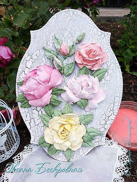 Всем доброго время суток! Сегодня, как обещала, выложу свои розы. Техника скульптурная живопись.  Панно высота 29 см. фото 24