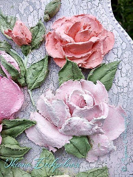 Всем доброго время суток! Сегодня, как обещала, выложу свои розы. Техника скульптурная живопись.  Панно высота 29 см. фото 25