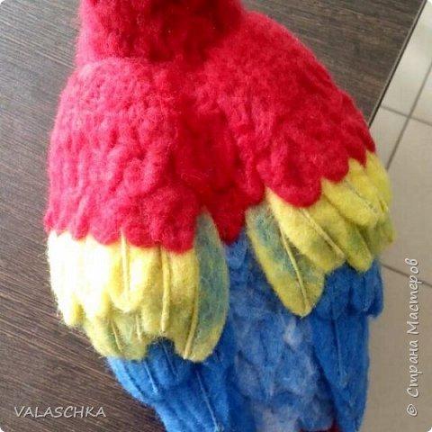Я очень люблю попугаев Ара. Поэтому решила свалять такую птицу из шерсти. А почему бы и нет... фото 9