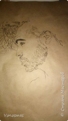 Автопортрет (папиркрафт, уголь) фото 2
