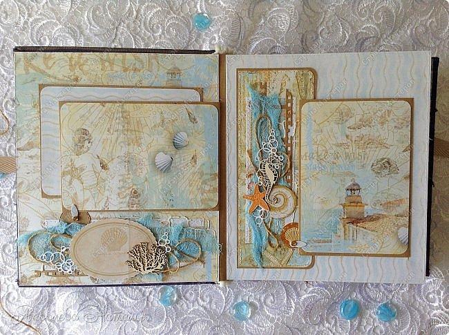 Приветствую всех, кто зашёл в гости! Я к вам с морским альбомом, который делала из замечательной коллекции от Bee  Shabby. Так же использовала чипборд, марлю, шпагат и вырубку. Приглашаю к просмотру.  фото 3
