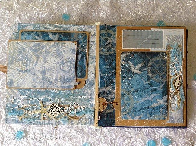 Приветствую всех, кто зашёл в гости! Я к вам с морским альбомом, который делала из замечательной коллекции от Bee  Shabby. Так же использовала чипборд, марлю, шпагат и вырубку. Приглашаю к просмотру.  фото 16