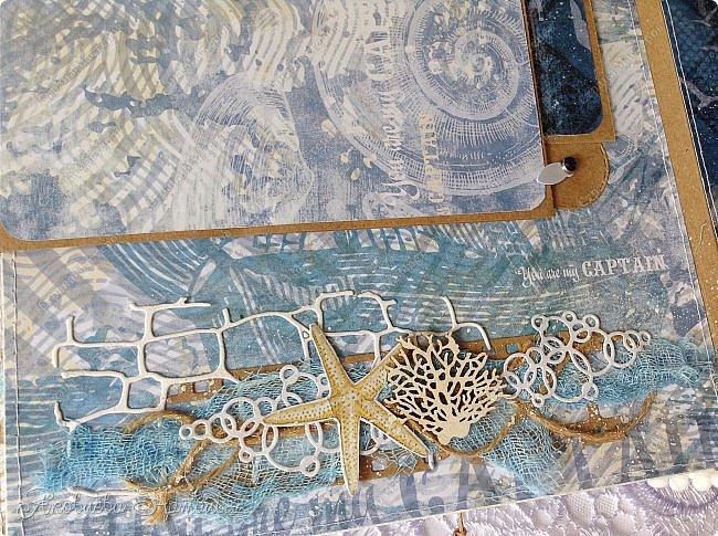 Приветствую всех, кто зашёл в гости! Я к вам с морским альбомом, который делала из замечательной коллекции от Bee  Shabby. Так же использовала чипборд, марлю, шпагат и вырубку. Приглашаю к просмотру.  фото 19