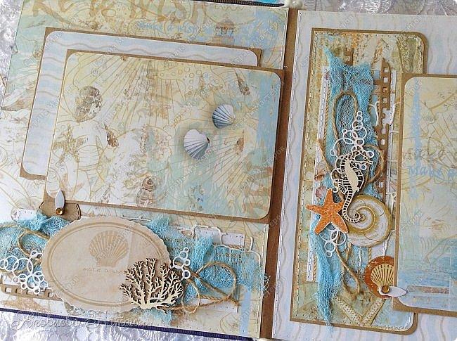 Приветствую всех, кто зашёл в гости! Я к вам с морским альбомом, который делала из замечательной коллекции от Bee  Shabby. Так же использовала чипборд, марлю, шпагат и вырубку. Приглашаю к просмотру.  фото 4
