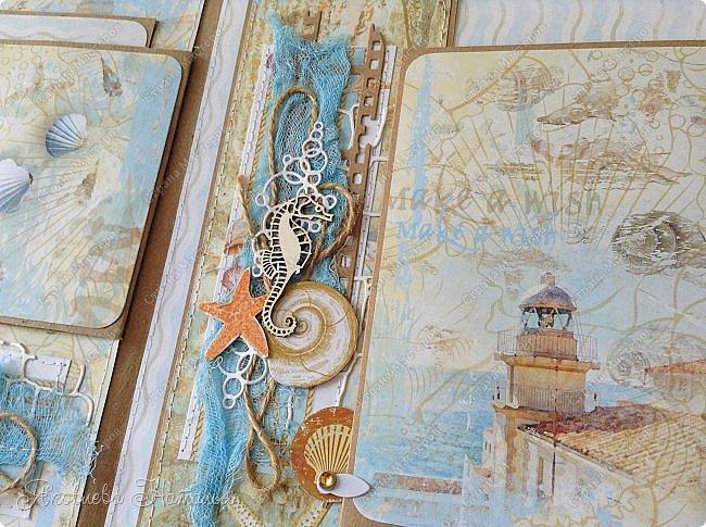Приветствую всех, кто зашёл в гости! Я к вам с морским альбомом, который делала из замечательной коллекции от Bee  Shabby. Так же использовала чипборд, марлю, шпагат и вырубку. Приглашаю к просмотру.  фото 5