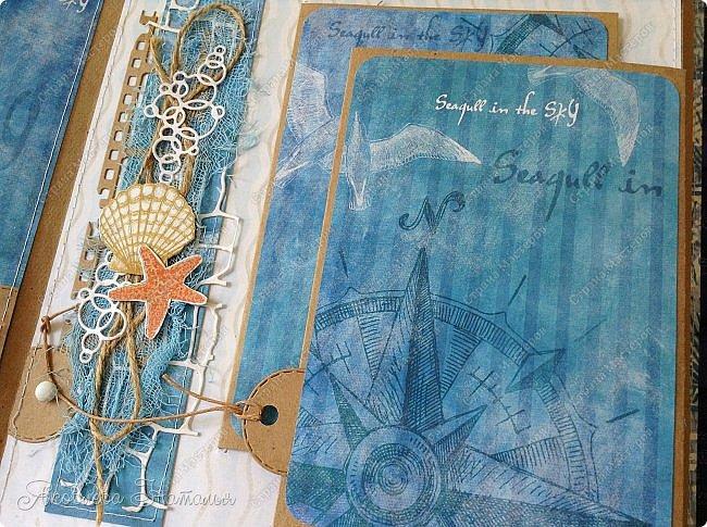 Приветствую всех, кто зашёл в гости! Я к вам с морским альбомом, который делала из замечательной коллекции от Bee  Shabby. Так же использовала чипборд, марлю, шпагат и вырубку. Приглашаю к просмотру.  фото 8