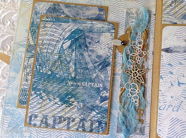 Приветствую всех, кто зашёл в гости! Я к вам с морским альбомом, который делала из замечательной коллекции от Bee  Shabby. Так же использовала чипборд, марлю, шпагат и вырубку. Приглашаю к просмотру.  фото 11
