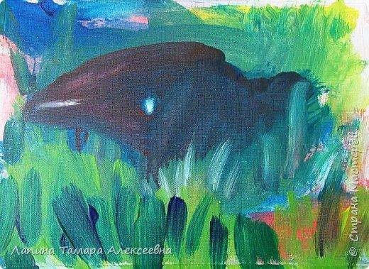 """Предлагаю, всем заглянувшим, посмотреть абстрактную живопись моих художников. Работали акрилом по материалу для жалюзи.  Краску растирали по материалу без определённой задумки, """"вычищая"""" краску с кисточки по ткани. Работа Агаты, 6л Вот что у ребят получилось. фото 5"""