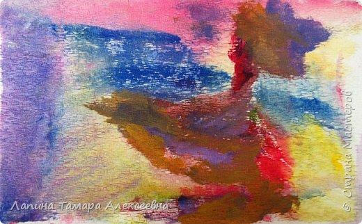 """Предлагаю, всем заглянувшим, посмотреть абстрактную живопись моих художников. Работали акрилом по материалу для жалюзи.  Краску растирали по материалу без определённой задумки, """"вычищая"""" краску с кисточки по ткани. Работа Агаты, 6л Вот что у ребят получилось. фото 3"""