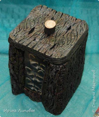 Вот такая многофункциональная коробка  с енотиками. Можно использовать для чайных пакетиков. К сожалению, забыла сфоткать внутри. Там фанерная коробка размером 10х10 (дно) и высота 15 см. Толщина техноплекса 2 см. фото 2