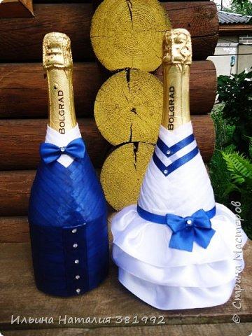 Свадебные бутылки в синем цвете фото 2