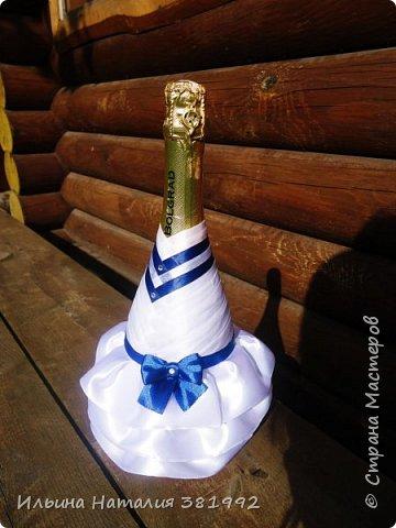Свадебные бутылки в синем цвете фото 6