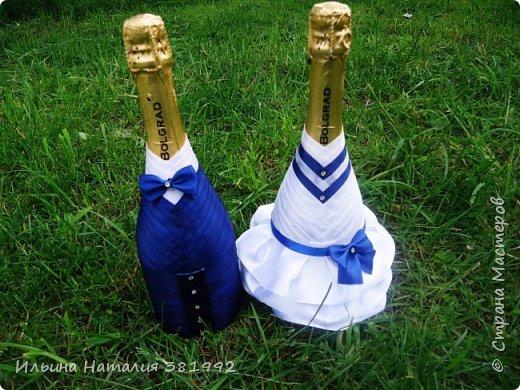 Свадебные бутылки в синем цвете фото 3