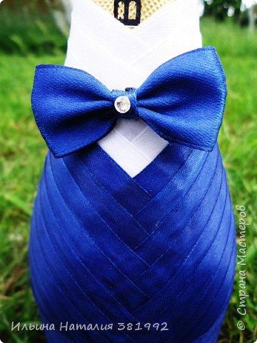 Свадебные бутылки в синем цвете фото 14