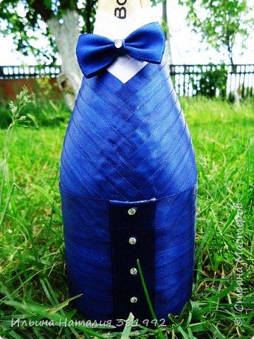 Свадебные бутылки в синем цвете фото 13