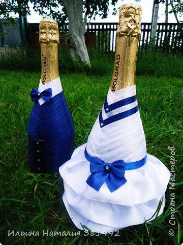 Свадебные бутылки в синем цвете фото 4