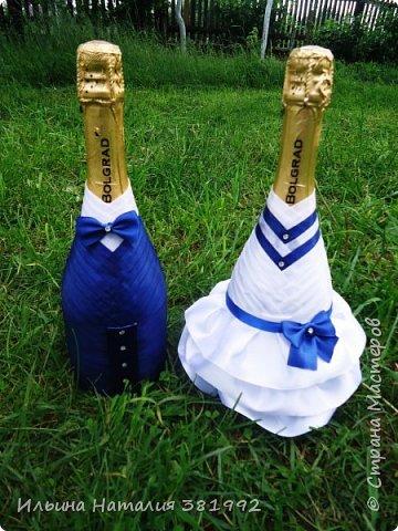 Свадебные бутылки в синем цвете фото 1