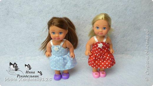 Для кукол Эви и Пенни сшила летние сарафанчики. Получилось очень мило:) А как вам новые наряды кукол?  Материалы: Ткань (хлопок), нитки, пуговицы. фото 6
