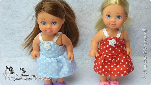 Для кукол Эви и Пенни сшила летние сарафанчики. Получилось очень мило:) А как вам новые наряды кукол?  Материалы: Ткань (хлопок), нитки, пуговицы. фото 3
