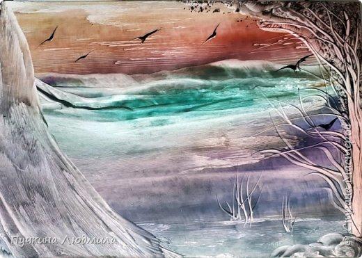 """Сегодня решила показать Вам, дорогие жители Страны Мастеров, свои новые картины в морской тематике..... Картина №1 - """"Перелет птиц"""",  ф.А.4, техника - ЭНКАУСТИКА фото 1"""