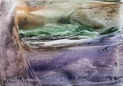 """Сегодня решила показать Вам, дорогие жители Страны Мастеров, свои новые картины в морской тематике..... Картина №1 - """"Перелет птиц"""",  ф.А.4, техника - ЭНКАУСТИКА фото 3"""