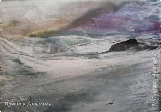 """Сегодня решила показать Вам, дорогие жители Страны Мастеров, свои новые картины в морской тематике..... Картина №1 - """"Перелет птиц"""",  ф.А.4, техника - ЭНКАУСТИКА фото 5"""