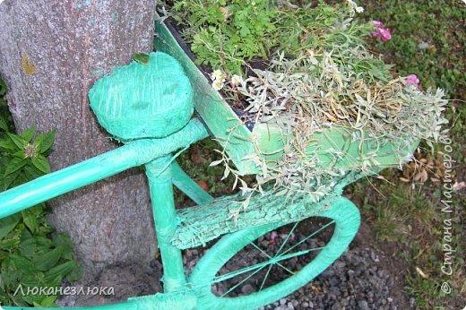 Здравствуйте! Очень мне нравится композиция , в ландшафтном дизайне с велосипедом... только я не стала использовать настоящий велик в этом деле , а сделала подобие велосипеда  ,с палок , коры , капроновых веревочек , а колеса вырезала с  с пеноплекса (разновидность пенопласта , но более крепкий материал ).    Велик очень органично вписался в общую композицию  - к скворечникам , птицам и клумбам на пнях ...ну и к деревьям , скверика! фото 5