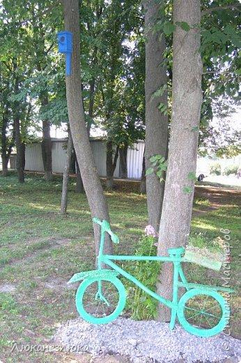 Здравствуйте! Очень мне нравится композиция , в ландшафтном дизайне с велосипедом... только я не стала использовать настоящий велик в этом деле , а сделала подобие велосипеда  ,с палок , коры , капроновых веревочек , а колеса вырезала с  с пеноплекса (разновидность пенопласта , но более крепкий материал ).    Велик очень органично вписался в общую композицию  - к скворечникам , птицам и клумбам на пнях ...ну и к деревьям , скверика! фото 6