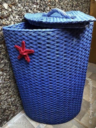 Сплела новую корзину для белья.  фото 2