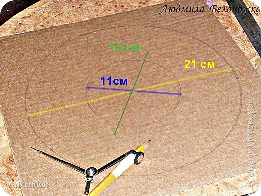 Продолжаю МК картонной основы для вазы.Часть 1 https://stranamasterov.ru/node/1151452. Преступаем к самому сложному к фиксирующим кругам, их будет 3 шт. Берем картон 0.2 мм, циркуль и на картоне рисуем три круга; первый-диаметром 11 см (диаметр трубы), второй- 13 см, третий диаметром 21 см.  Через центр круга проводим прямую линию (диаметр круга). Вырезаем внутри диаметр 11 см, и по наружи диаметра 21 см. Картонок 3 шт. фото 1
