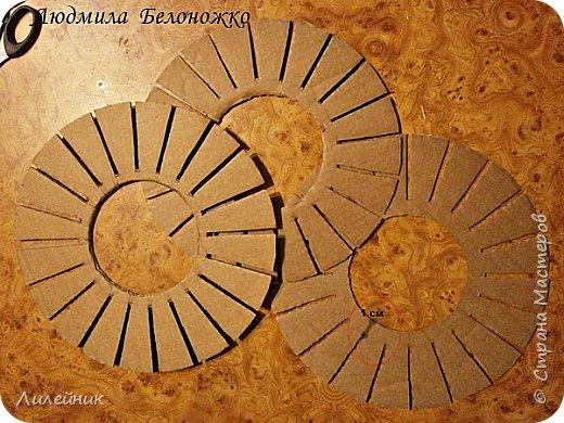 Продолжаю МК картонной основы для вазы.Часть 1 https://stranamasterov.ru/node/1151452. Преступаем к самому сложному к фиксирующим кругам, их будет 3 шт. Берем картон 0.2 мм, циркуль и на картоне рисуем три круга; первый-диаметром 11 см (диаметр трубы), второй- 13 см, третий диаметром 21 см.  Через центр круга проводим прямую линию (диаметр круга). Вырезаем внутри диаметр 11 см, и по наружи диаметра 21 см. Картонок 3 шт. фото 3