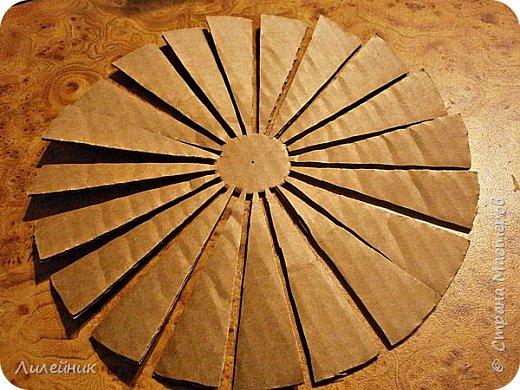 Продолжаю МК картонной основы для вазы.Часть 1 https://stranamasterov.ru/node/1151452. Преступаем к самому сложному к фиксирующим кругам, их будет 3 шт. Берем картон 0.2 мм, циркуль и на картоне рисуем три круга; первый-диаметром 11 см (диаметр трубы), второй- 13 см, третий диаметром 21 см.  Через центр круга проводим прямую линию (диаметр круга). Вырезаем внутри диаметр 11 см, и по наружи диаметра 21 см. Картонок 3 шт. фото 6
