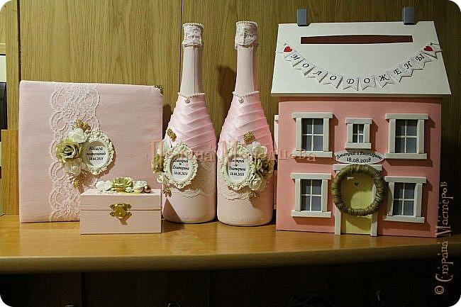 Здравствуйте, жители СМ. Я к вам с очередным свадебным набором. Цвет розовый с золотым. фото 1