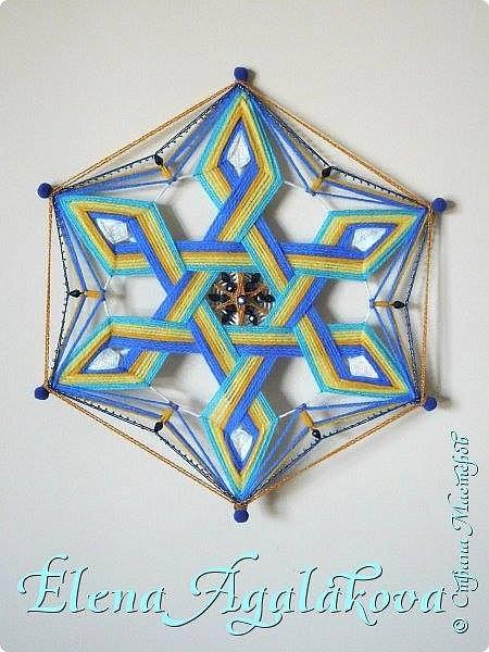 Моя новая мандала. В основе - 6-ти конечная звезда. Шестилучевая звезда один из древнейших символов, которыми пользуется человечество. Чаще всего в этот символ вкладывается идея взаимодействия(взаимопроникновения) двух начал, каждое из которых символизирует один из двух треугольников, составляющих звезду. На сегодняшний день изображение шестиконечной звезды археологи находят практически по всей планете. Разные народы использовали звезду в своих целях. Но многие из них признавали, что в ней присутствует особенная гармония, а также художественная целостность, отражающая равновесие мира. фото 1