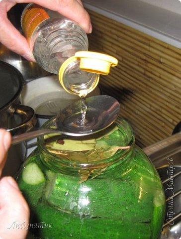 Всем огромный привет!  Сегодня хочу рассказать, как я мариную огурцы для длительного хранения.  Рецептов очень много, но я остановилась на этом. Данный рецепт проверен многократно - очень вкусно! :-)  Продукты на одну 3 л банку:  Огурцы  Зонтик укропа - 1 шт Листья вишни - 2 шт Листья смородины - 6 шт Лист хрена - 1 шт размером (15-20) см  Маринад на одну 3 л банку:  Вода - 1,5 л Перец душистый горошек - 8 шт Гвоздика - 2 шт Лавровый лист - 3 шт Соль - 3 столовые ложки Сахар - 2 столовые ложки Уксусная эссенция 70 %  - 1 столовая ложка  фото 19
