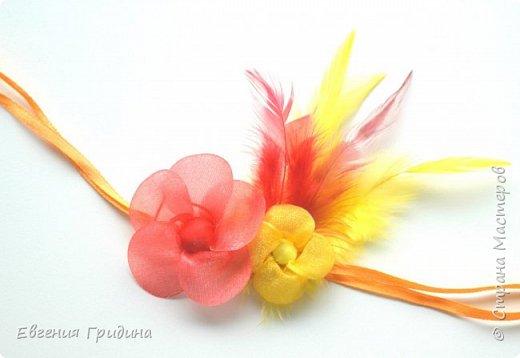 Ободок с пышными цветами. Основа для ободка пластиковая, искусственные цветы и листья (брала те которые можно стирать), пестики и тычинки :) Все закрепляла на клей. фото 2