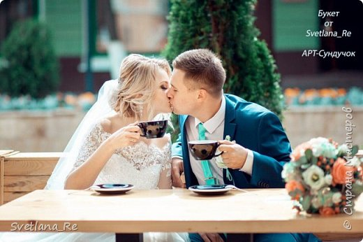 Для одной очаровательной невесты сделала букет. Свадьба была в цвете тиффани. Букет полностью из фоамирана - зелень, цветы, ягоды, тычинки....все))  В живую смотрится как настоящий. По словам невесты, никто на свадьбе так и не поняла, что букет рукотворный.  Диаметр шапочки примерно 25-30 см  фото 11