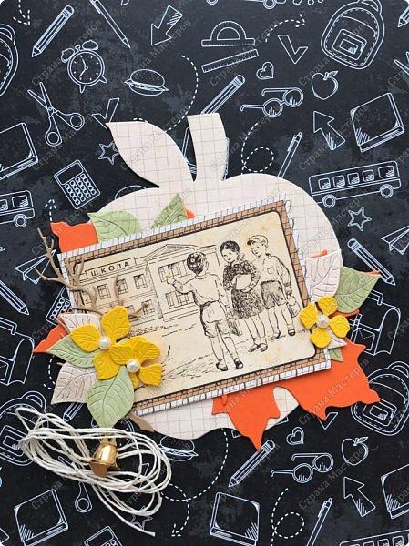 Хоть сын у меня уже не школьник, но школьная тема все-же присутствует в моем творчестве. С прошлого года остались заготовки яблочки. https://stranamasterov.ru/node/1113350?t=431 Решила сделать парочку открыток /тег на 1 сентября  и наборчики для самостоятельного творчества фото 5