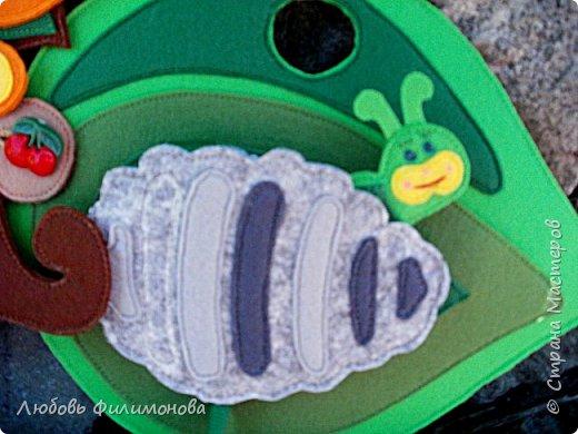 """Развивающее пособие сшито по книге Эр. Карла """"Очень голодная гусеница"""" по выкройкам Ирины Зубовой.Игра состоит из 34 деталей. сшитых из фетра. фото 11"""