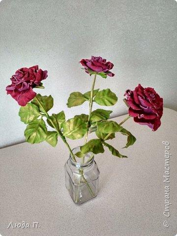 Всем здравствуйте, моя новая поделка - интерьерная композиция, букет из роз из натуральной кожи. фото 11