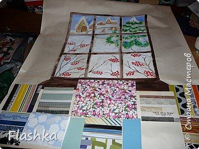 Уголок дома Тильтиль и Митиль. Панно-плакат из обоев с росписью и аппликацией.  фото 3