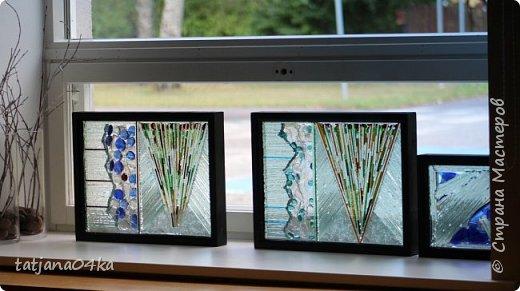 На днях столкнулась с техникой изготовления витражей,,  ,причём очень необычной,,,стекло порезано на куски в 2см,,,применялись разбитые бутылки,банки,бокалы,,три дня мы подбирали, складывали ,собирали мозаичные и геометрические  творческие работы,,очень интересно было,,, фото 6